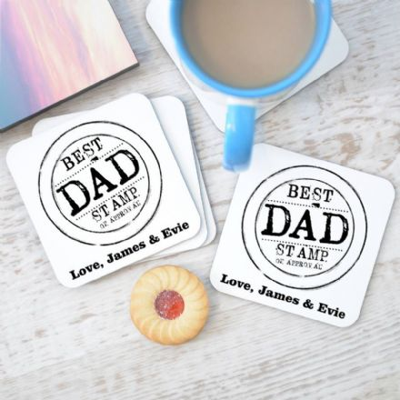 Personalised Dad Stamp Coasters